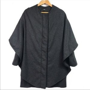 7ForAllMankind Charcoal Overlay Cape Wool Coat XS
